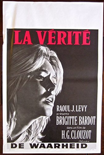 LA VERITE - VINTAGE 1960 BELGIAN POSTER - BEAUTIFUL BRIGITTE BARDOT IMAGE