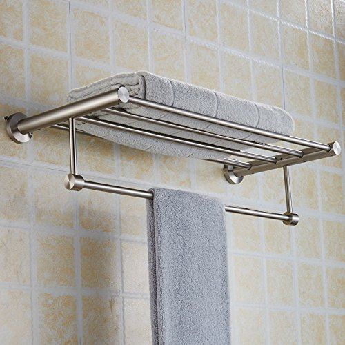 New Arrival Luxury Bathroom Accessories Stainless Steel Bath Towel Shelves Towel Rack Towel Bar Bath Hardware by Shelves store (Image #1)
