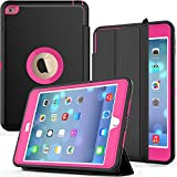 iPad Mini 4 Case A1538/A1550, SEYMAC Shockproof Heavy Duty Drop Protection Rugged Protective Case with Smart Auto Wake/Sleep Cover for iPad Mini 4th Generation (Black/Rose)