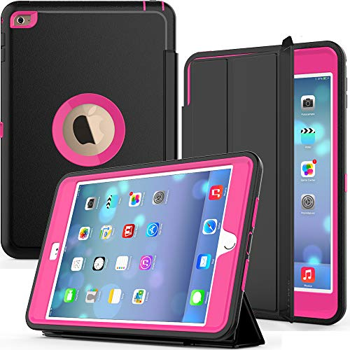 iPad Mini 4 Case Mini 4th Generation Case A1538/A1550 Case,SEYMAC Shockproof Heavy Duty Drop Protection Rugged Protective Case with Smart Auto Wake/Sleep Cover for iPad Mini 4 Girls/Kids (Black/Rose) - Griffin Leather Metal