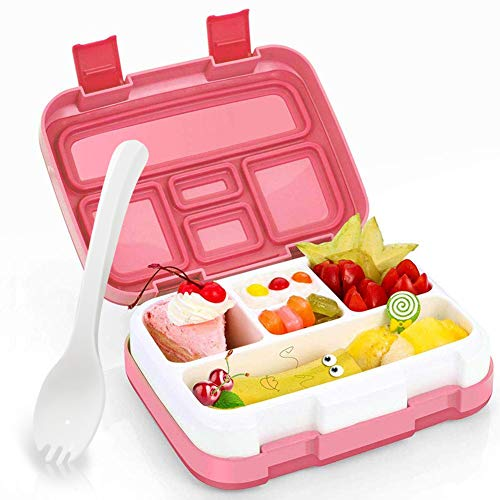 - Kids Lunch Box, Hometall Bento Box for Kids with Spoon, BPA-Free, Leakproof 5 Compartments Food Container Great for School, Picnics, Travel and More(Pink)