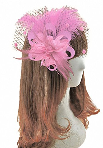 (EachEver Women Flower Mesh Feather Fascinators Hat Cocktail Tea Party Kentucky Derby Hat Headwear Pink)