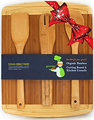 #1 Perfect Wedding, Housewarming, or Birthday Gift Set - Bamboo Cutting Board with Best 3-Piece Kitchen and Cooking Wood Utensils - Wooden Spoon, Salad Tongs & Spatula - No Risk Money Back Guarantee!