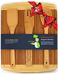 CheckOut #1 Perfect Wedding, Housewarming, or Birthday Gift Set | Bamboo Cutting Board with Best 3-Piece Kitchen and Cooking... saleoff