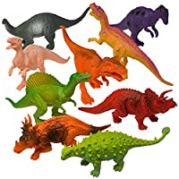 """Prextex Realistic Looking, paquete de dinosaurios de 7 """"con 12 figuras de dinosaurios surtidos de plástico grandes con libro de dinosaurios"""