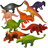 "Prextex Realistic Looking 7"" Dinosaurs Pack of 12 Large Plastic Assorted Dinosaur Figures"