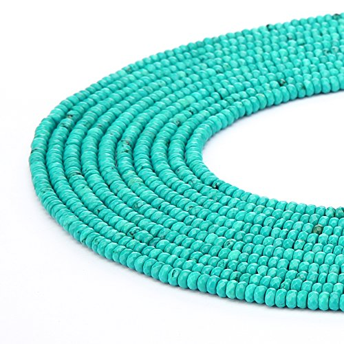 BRCbeads Natural Chinese Green Turquoise Gemstone Faceted Rondelle Loose Beads 4x6mm Approxi 15.5 inch 95pcs 1 Strand per Bag for Jewelry Making Green Turquoise Beads