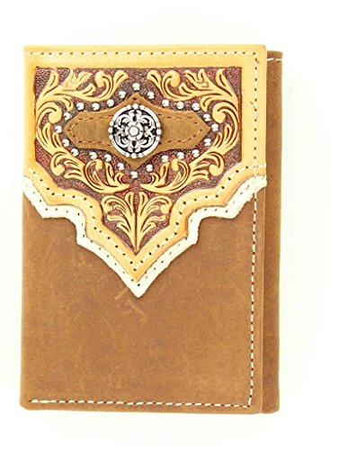 Nocona Men's Studded Tooled Overaly And Fancy Concho Tri-Fold Wallet Med Brown One Size