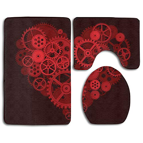 (Bathroom Rug Shag - 3 Piece Memory Foam Non Slip Steampunk Gears Red Love Heart Bathroom Rug/Large U-Shaped Bath Mats/Lid Cover Fast Dry Water Absorbent Toilet Floor Mat Bath Rugs)