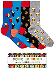 Novelty Socks Gift Box Set - 4 Funny Socks for Men, Funky, Groovy, Crazy and Silly in Bright Colours and Fun Graphic Patterns - Great Father's Day, Birthday, Christmas - Stylish Retro Box