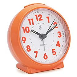 JCC Macaron Color Glossy Small Round Handheld Size Non Ticking Quartz Bedside Desk Clock Travel Alarm Clock with Light Night, Snooze Function - Battery Operated (Shining - Orange)