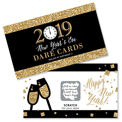 New Year's Eve - Gold - 2019 New Years Eve Party Game Scratch Off Dare Cards - 22 Count