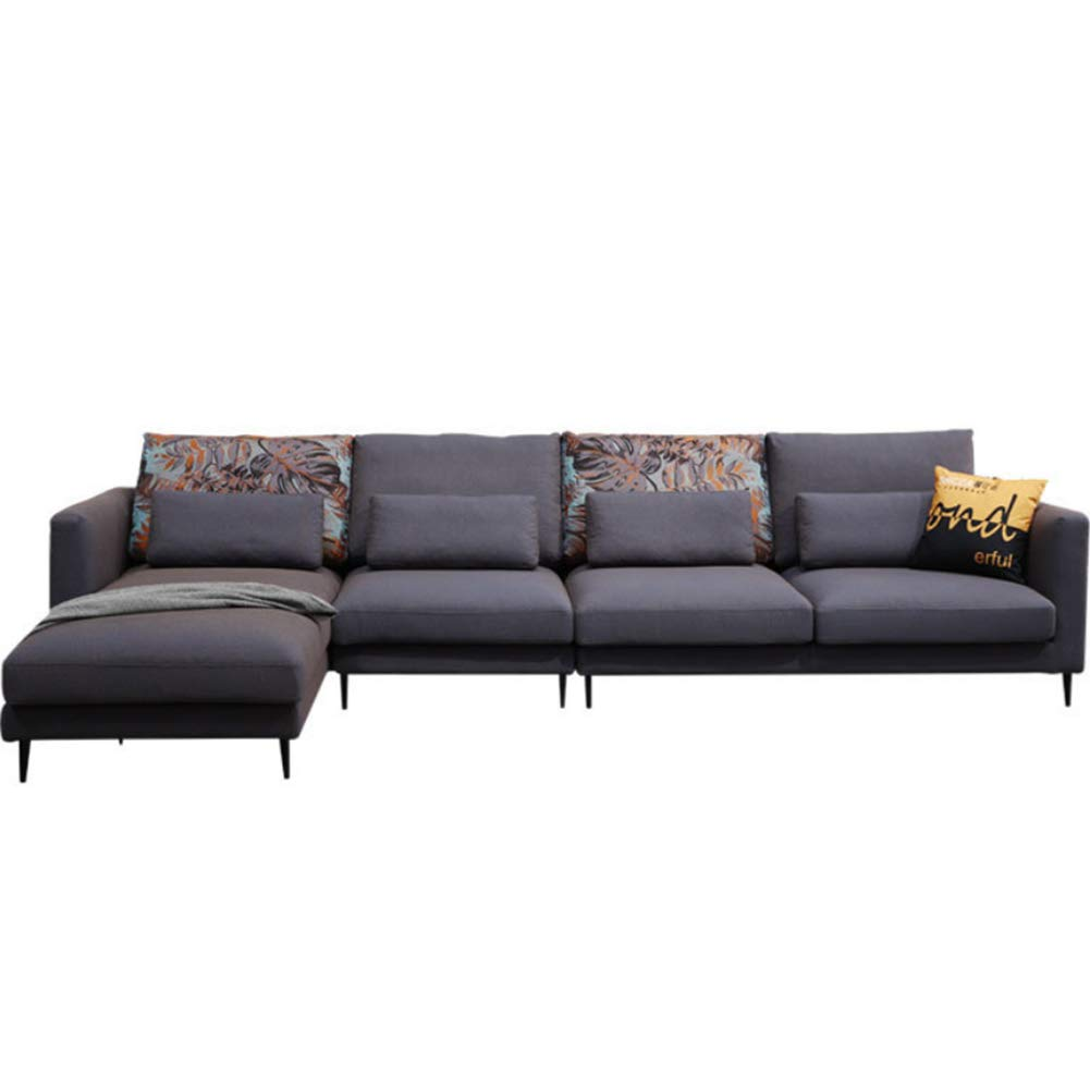Amazon.com: XIAOSUNSUN Leather Fabric Down Sofa Combination ...