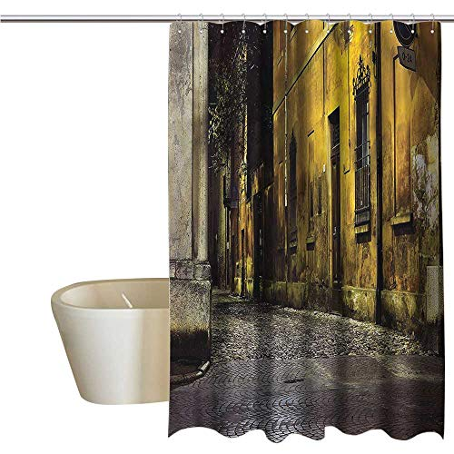 (Denruny Shower Curtains for Bathroom Mermaid Street,Dark City Old Avenues,W55 x L84,Shower Curtain for Kids)