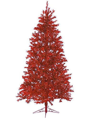 Santa's Own 7.5' Sparkle Merlot Pre-Lit Laser Tinsel Artificial Christmas Tree Merlot Lights