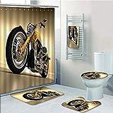 Bathroom 5 Piece Set Shower Curtain 3D Print,Motorcycle,Iron Custom Aesthetic Hobby Motorbike Futuristic Modern Mirrors Riding Theme,Yellow Silver,Bath Mat,Bathroom Carpet Rug,Non-Slip,Bath Towls