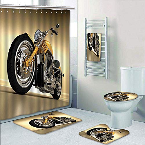 Bathroom 5 Piece Set Shower Curtain 3D Print,Motorcycle,Iron Custom Aesthetic Hobby Motorbike Futuristic Modern Mirrors Riding Theme,Yellow Silver,Bath Mat,Bathroom Carpet Rug,Non-Slip,Bath Towls by iPrint