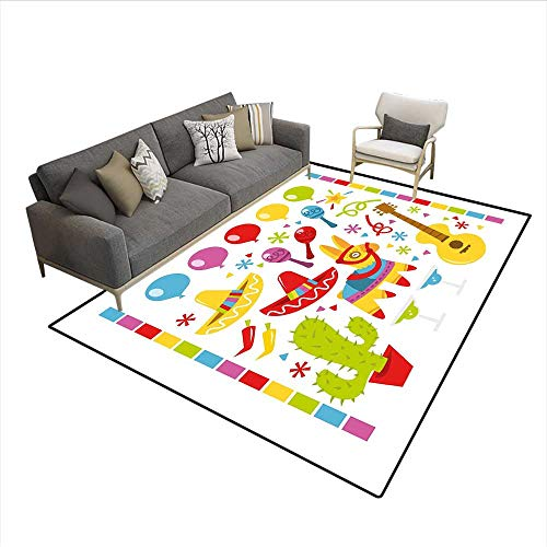 Carpet,Mexican Party Pattern Cactus Sombrero Musical Items and a Pinata Ethnic Inspirations,Customize Rug Pad,Multicolor 6'6