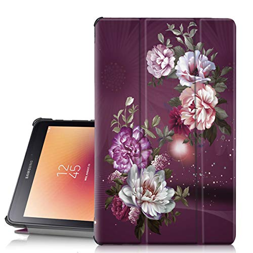 Hocase Galaxy Tab A 8.0 2017 Case, PU Leather Smart Case with Unique Flower Design, Auto Sleep Wake Feature, Hard Back Cover for SM-T380 and SM-T385 - Burgundy Flowers ()