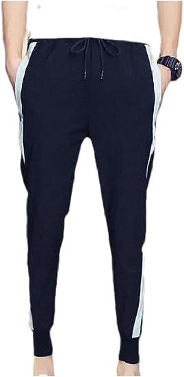 Romancly メンズスパンコールストラップポケット付きスタイリッシュカジュアルパンツフィット
