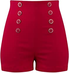 43b1472a20d1 Double Trouble Apparel High Waisted Pin Me Up Shorts - Red