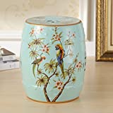 AIDELAI Stool chair New Classical Chinese Style Dressing Stool Stool Changing His Shoes Hand-painted Flowers And Ceramic Drum Stool Stool Antique Benches Trumpet (26 38cm) Saddle Seat ( Color : E )
