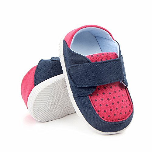 Kuner Baby Boys Girls Cotton Rubber Sloe Outdoor Sneaker First Walkers Shoes (12.5cm(6-12months), Blue+Rose) by Kuner (Image #2)