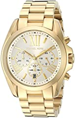 A polished gold-tone finish and roman-numeral markers lend luxe elegance to this Michael Kors chronograph watch. Three subdials and a date wheel detail the dial. Hinged-snap clasp.
