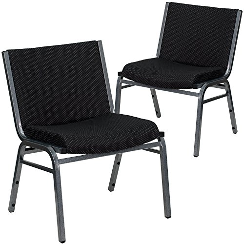 Flash Furniture 2 Pk. HERCULES Series Big Tall 1000 lb. Rated Black Fabric Stack Chair