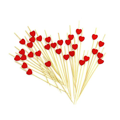 """Cocktail Sticks,Amytalk 100 Counts Swizzle Sticks,4.7"""" Handmade Frilled Toothpicks Cocktail Picks for Nibbles Tapas Sandwich Canopes Appetisers (Red Heart)"""