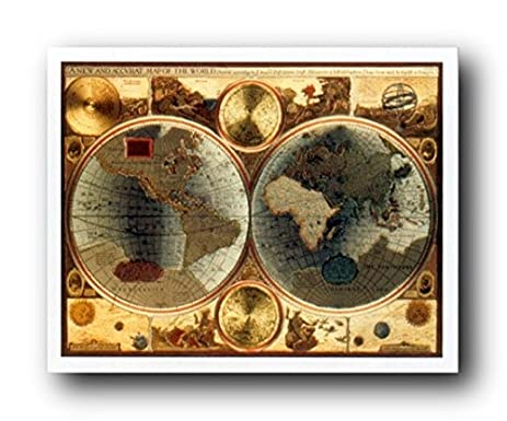 Amazon a new and accvrat map of the world vintage wall decor a new and accvrat map of the world vintage wall decor art print poster 16x20 gumiabroncs Choice Image