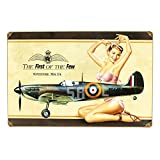 home is where the air force sign - British WW2 Vintage Metal Sign Spitfire MkIA Pinup Girl