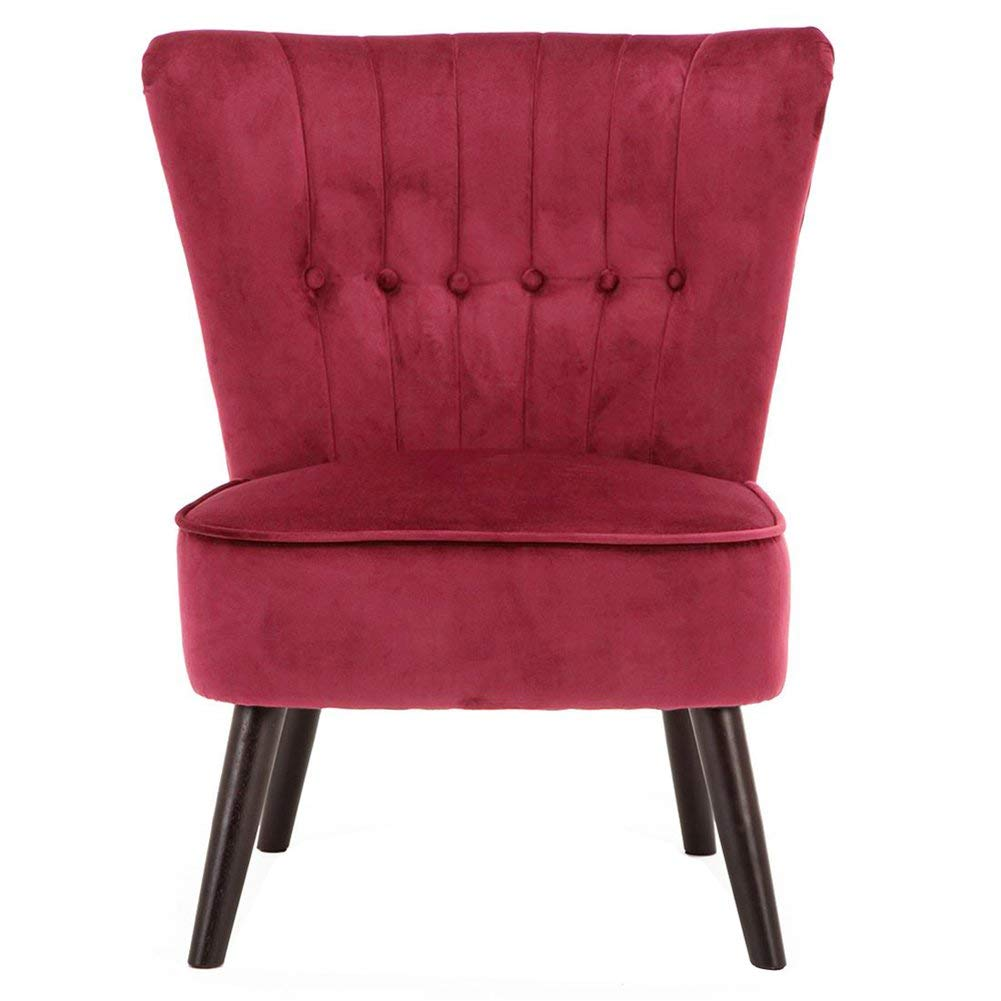 Blau Lifelook Moderner Polsterstuhl Samt Deco Sessel Akzent-Sessel Gekn/öpfter R/ückseite mit Massivholz Eiche Bein f/ür Schlafzimmer Wohnzimmer oder Balkon usw