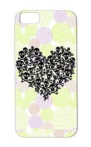 Black Skull Heart Cover Case For Iphone 5c Gothic Evil Valentine Love Women Heart Valentines Day Skulls Love TPU Skid-proof