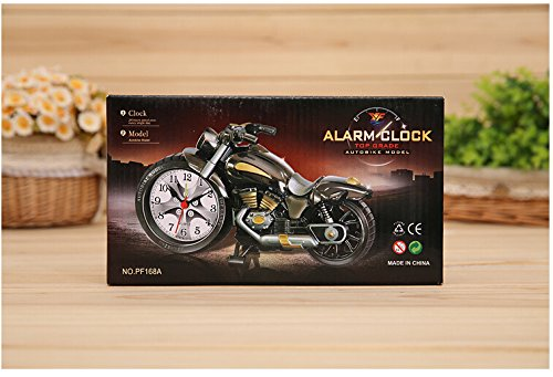 Motorcycle Alarm Clock of Luxury Retro Style, Creative Artistic Motorbike Desk Clock Model for Household Shelf Decorations, Unique Eye-Catching Exquisite Motorbike Sporting Alarm Clock with Plastic and Quartz Material and 1x AA battery, Excellent Gift for