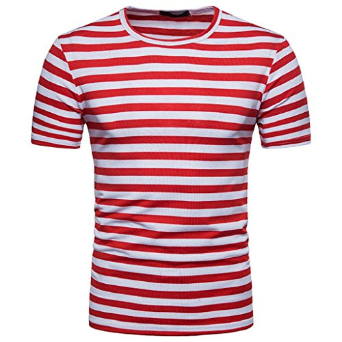 HGWXX7 Men's Summer Casual Stripe Short Sleeve Round Neck Pullover T-Shirt Top Blouse (M, Red) ()