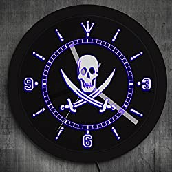 The Geeky Days Jolly Roger Pirate Wall Clock with LED Illumination Skull with Crossed Swords LED Neon Sign Wall Clock Pub Bar LED Wall Decor