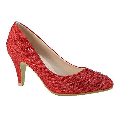 Anna Beckham-10 Donna Ha Brillato Moda Stiletto Punta A Punta Tacco, Colore: Rosso, Dimensioni: 6.5