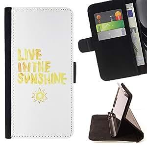 For Samsung Galaxy S6 EDGE (NOT S6) Case , Vive Cita Sol Sun Amarillo Blanco- la tarjeta de Crédito Slots PU Funda de cuero Monedero caso cubierta de piel