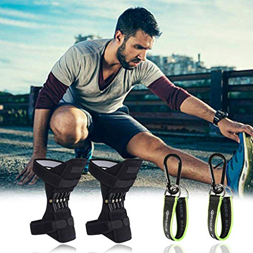 (MAMaiuh Power Lift Joint Support Knee Pads Powerful Rebound Spring Force -Adjustable Bi-Directional Straps-for Joint Pain Relief, Arthritis Injury Recovery, Sprains, Meniscus Tear (Black))