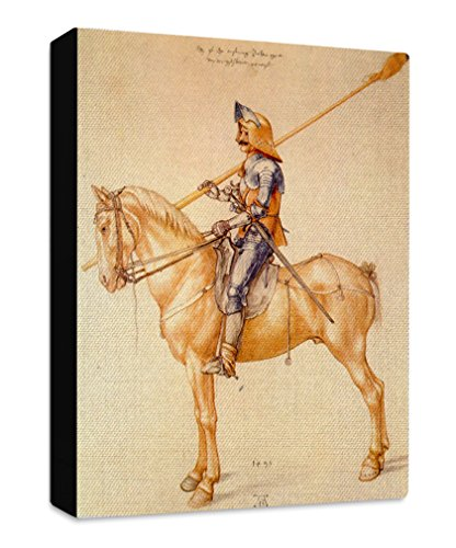 (Rider in The Armor (Durer) Streched Canvas Wrap Frame Print Wall Décor - Black Border, 20