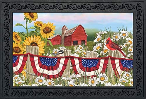 Briarwood Lane America The Beautiful Summer Doormat Patriotic Floral Indoor Outdoor 18 x 30