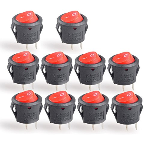 Conwork 10-Pack SPST Type Round Switch, 2 Pin 2 Position ON/OFF Boat Rocker Switch 6A/125V 3A/250V AC for Truck Car