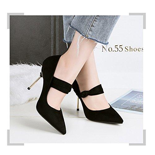 ALUK- Damenschuhe - Europa und die Vereinigten Staaten Stöckelschuhe mit Sandalen wies sexy Damen-Einzel Schuhe ( Farbe : Braun , größe : 37-Shoes long235mm ) Schwarz