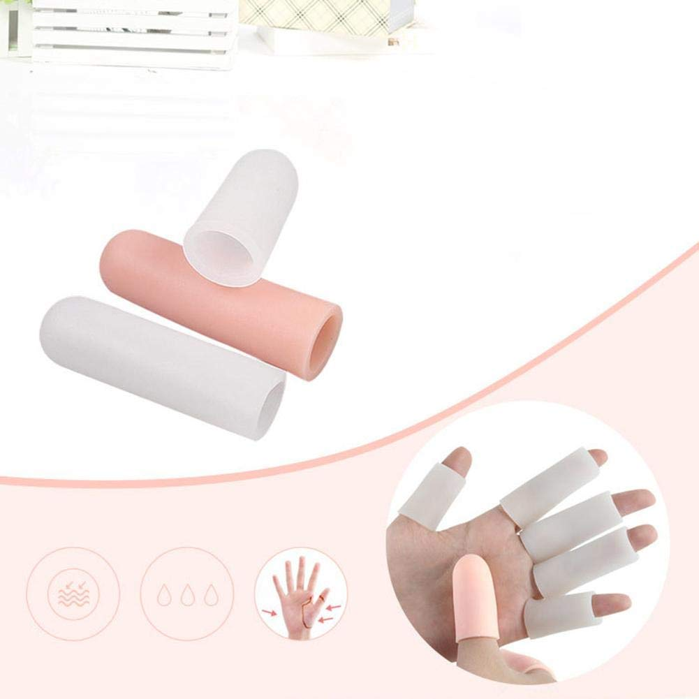 Tcplyn Gel Finger Cots Cover Protector Support Hand Moisturizer Finger Sleeve 5pcs Champagne Durable and Useful by Tcplyn (Image #3)