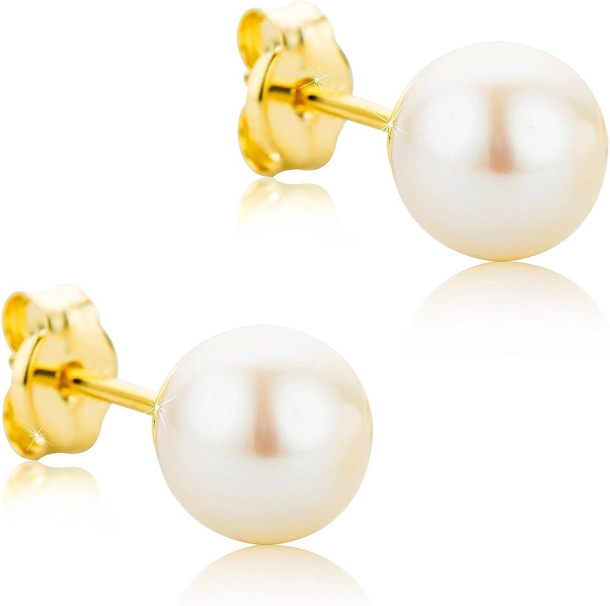 Orovi pendientes de mujer presión Perlas blancas 6-6.5 de aguadulce en oro amarillo 9 kilates ley 375