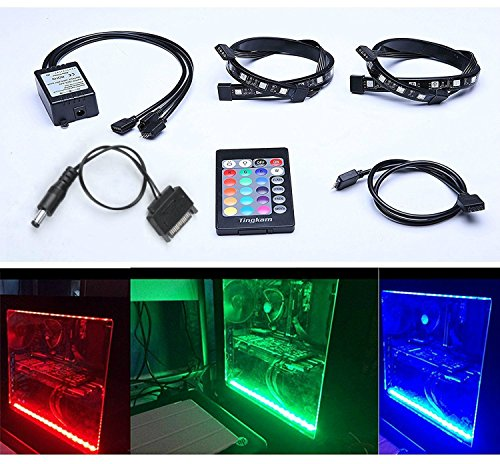 Tingkam Full Kit RGB 5050 SMD 2pcs 18leds 30cm LED Strip Light Attached to Your PC Case via Magnet with 24 key Remote Controller for Desktop Computer Mid Tower Case ()