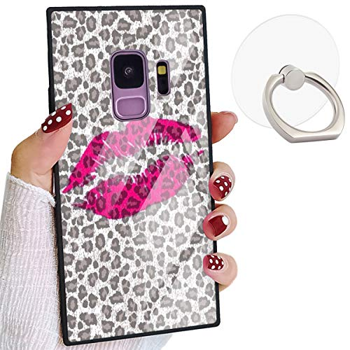 Leopard Kiss Pattern Square Elegant Case Compatible for Samsung Galaxy S9 Chic Stylish Samsung S9 Cover Shockproof Protective [NOT S9 Plus]