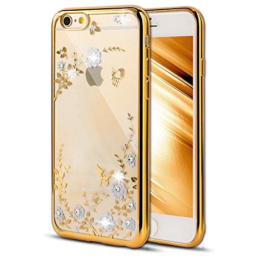 Case for iPhone 6S Plus,iPhone 6 Plus Cover, EMAXELER Bling Swarovski Crystal Rhinestone Case,Electroplating Flexible TPU Case for iPhone 6 Plus/6S Plus(5.5