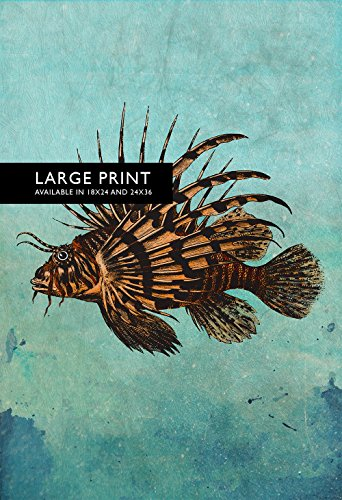 Lion Fish Print Victorian Vintage Nautical Decor Ocean Wall Art - Giclee Print on Cotton Canvas and Satin Photo Paper ()